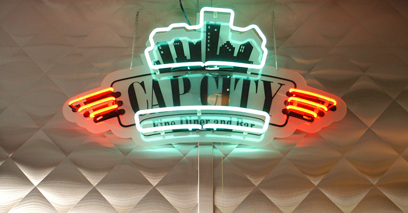Cap City neon sign