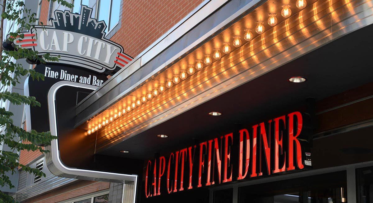 Cap City Fine Diner restaurant entrance signage at Dublin, Ohio location